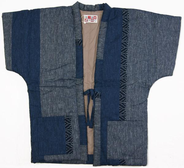 和装防寒 大人Sサイズ 袖なしやっこ半天 グレー/紺色 手作り袢天 綿入り半纏 節電でエコ 日本製 送料無料