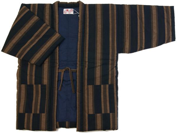 防寒用半天 先染め綿織物紬 茶系色 縞柄 フリーサイズ 綿入り半纏 久留米手作り袢天 日本製 送料無料