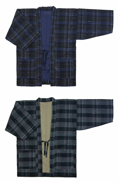 防寒用半天 先染め綿織物紬フリーサイズ 綿わた100%半纏 薄くて暖かい手作り袢天 日本製 送料無料