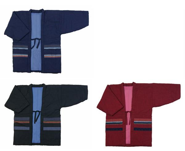 防寒用半天 綿紬 手作り袢天 フリーサイズ男女兼用 綿入り半纏 久留米手作り袢天 節電でエコ 日本製
