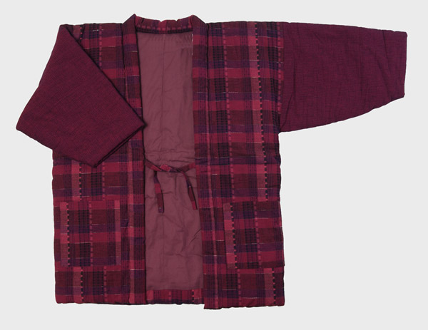 防寒用女性用半天 先染め綿織物紬 格子柄 フリーサイズ 綿入り半纏 久留米手作り袢天  日本製 送料無料
