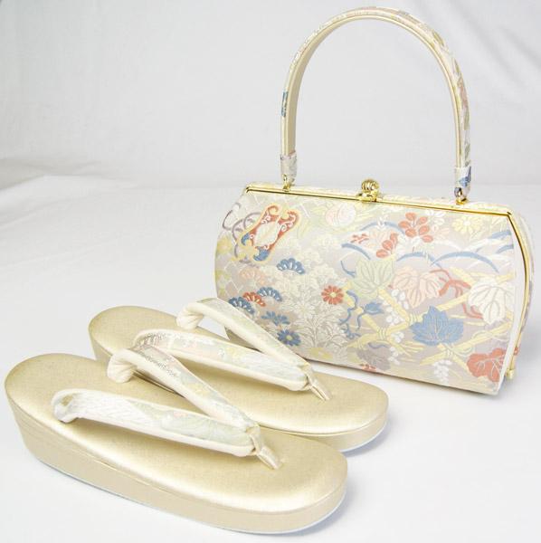 草履バッグセット 紗織 白色系正絹西陣帯生地バッグ・金色レザー草履 フォーマル用 Lサイズ 和装小物 送料無料