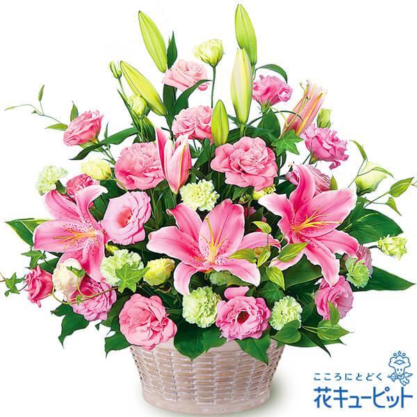 花キューピット【お祝い】ピンクユリとトルコキキョウのアレンジメントyc00-511240 誕生日 退職 歓送迎 結婚 記念日 プレゼント
