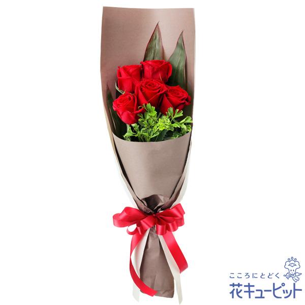 上等 5本のバラの意味は あなたに出会えた心からの喜び クリスマスフラワー プレゼント ギフト お祝い 花キューピットの赤バラ5本の花束mm00-512083 Xmas 予約 記念日 誕生日 感謝