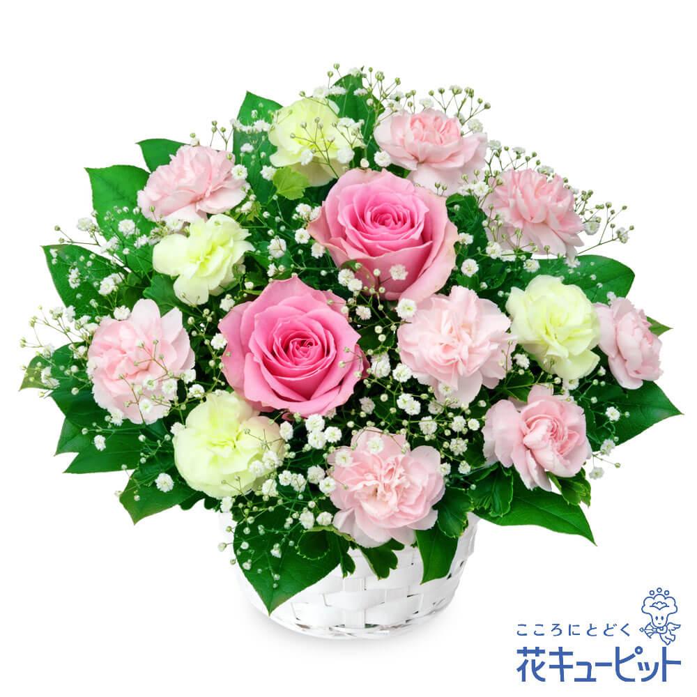 フォーマルな場での贈り物に 誕生日フラワーギフト バラ 花 誕生日 日本最大級の品揃え お祝い 記念日 物品 友人 夫婦 友達 プレゼント 彼氏彼女 花キューピットのピンクバラのアレンジメントya0b-512120 祖父母