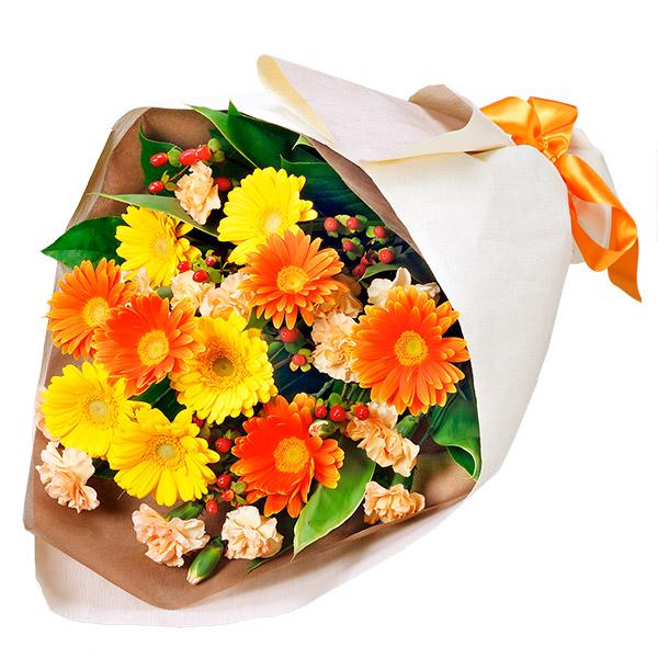 太陽のような笑顔がステキなあの人に 11月の誕生花 ガーベラ 誕生日 特価品コーナー☆ お祝い [並行輸入品] 記念日 ギフト お礼 プレゼント 感謝 花キューピットのイエローオレンジガーベラの花束ya11-511897