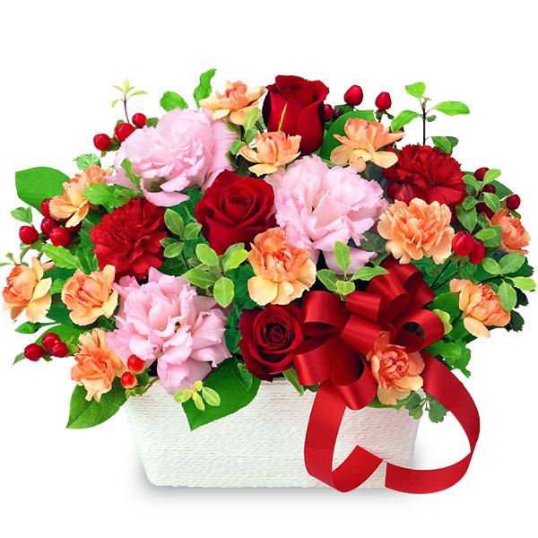 人気の花をたっぷり使ったリッチなアレンジメント お祝い 誕生日 就職退職 歓送迎 結婚 開店開業 卒業入学 還暦 花キューピットの赤バラとリボンのアレンジメントyc00-512085 記念日 プレゼント 高品質 未使用品