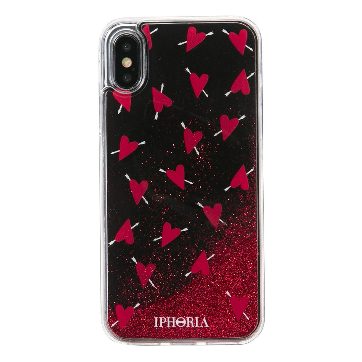 IPHORIA アイフォリア Liquid Case for Apple iPhone X/XS - Amore Black リキッドケースアモーレブラック 海外ブランド オシャレ 人気 グリッター キラキラ ラメ ハート