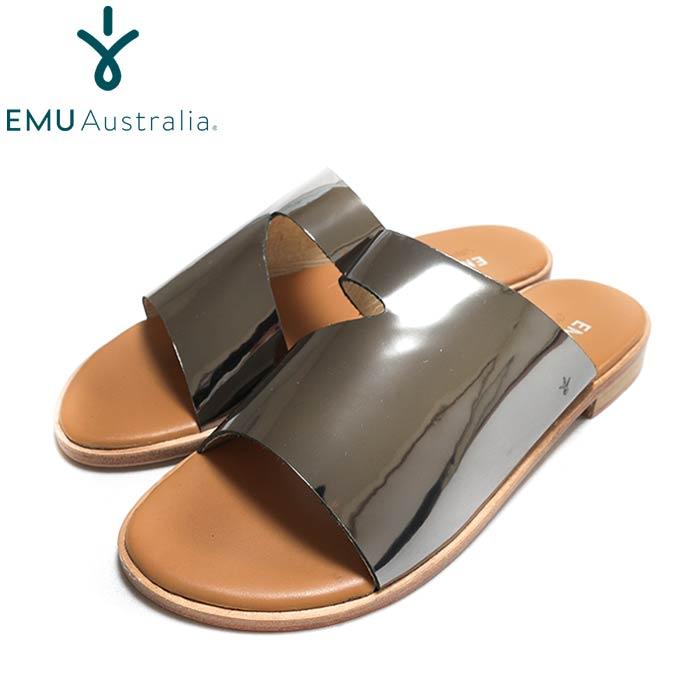 EMU Australia エミューW12454 未使用 Ginini 即納 Mirror シルバーレザーサンダル ペタンコ レディース Silver
