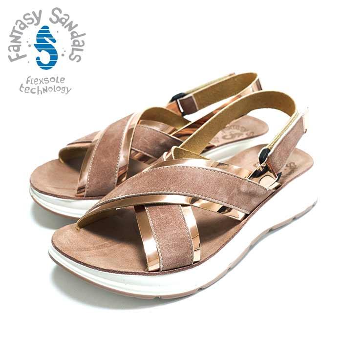 Fantasy 送料込 SandalsファンタジーサンダルS82 Gold ゴールド くすみピンク 正規取扱店 人気の製品 クロスデザインの美脚コンフォートサンダルインポート オープントゥ ギリシャ