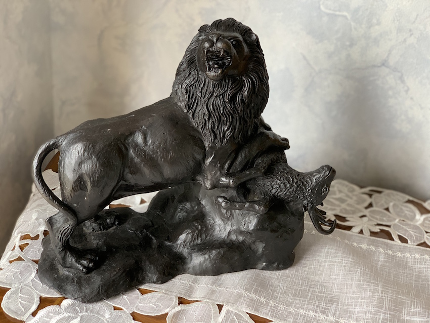 アメリカ製 ブロンズ像『ライオンとヤギ』