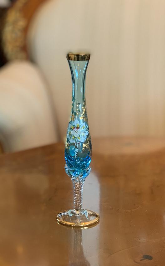 イタリア製 ヴェネチアガラス 一輪挿し(ライトブルー)