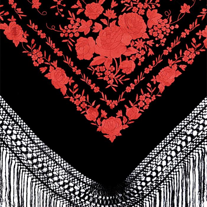 BF-1616 刺繍入りマントン/ブラック×コーラル【フラメンコ用品】
