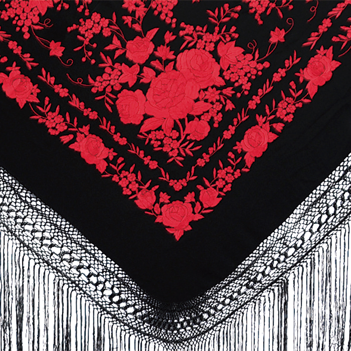 BF-1616 刺繍入りマントン/ブラック×レッド【フラメンコ用品】