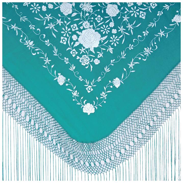 BF-17612 シルク刺繍マントン ブルーグリーン×ホワイト【フラメンコ用品】シージョ