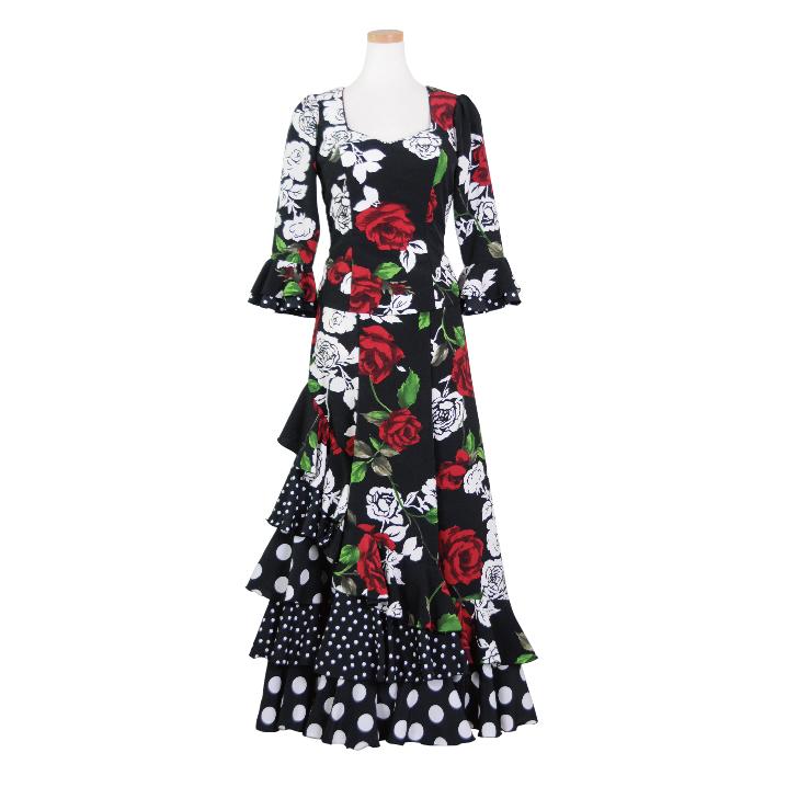 HOP-10 変形5段フリルスカートツーピース /ブラック花柄【日本製】【フラメンコ衣装】ドレス 発表会