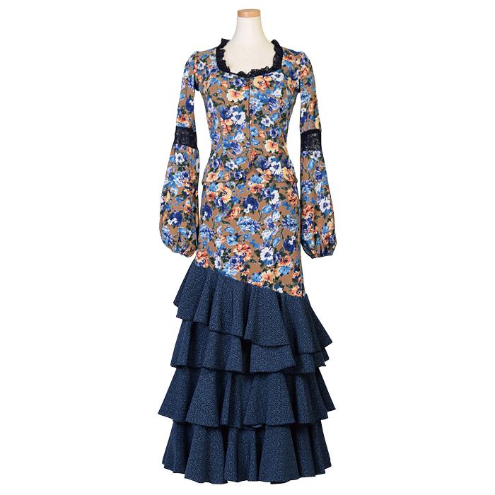 【現品のみ/M-96、L-96】HI-1701 バルーン袖ツーピース / キャメル多色花柄【日本製】【フラメンコ衣装】