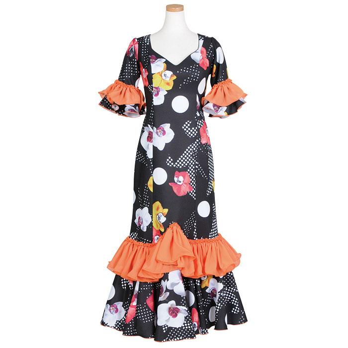 【1点モノ】GV-1904 スペイン製ワンピース ブラック/オレンジ系花柄【スペイン製】【フラメンコ衣装】