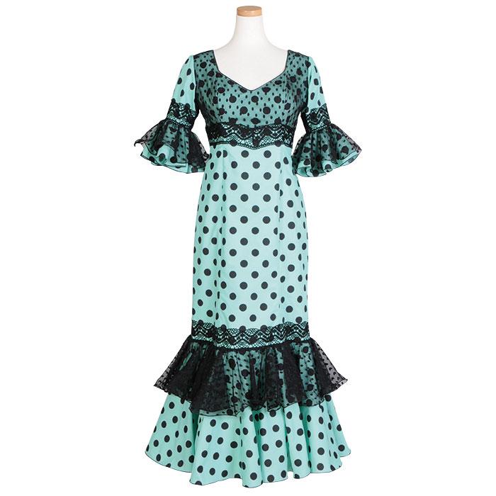 【1点モノ】GV-1903 スペイン製ワンピース エメラルド/ブラック水玉【スペイン製】【フラメンコ衣装】 ドット ドレス