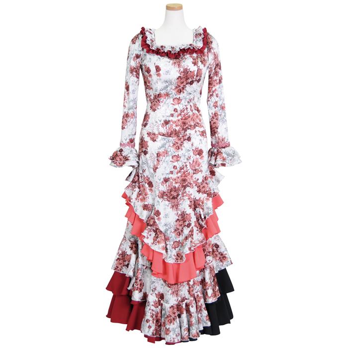 HT-1801 胸元ギャザー5段フリルスカートツーピース ホワイト/ワイン花柄 HT-1801【日本製】【フラメンコ衣装】ドレス, タキグン:4d8bf6ab --- officewill.xsrv.jp
