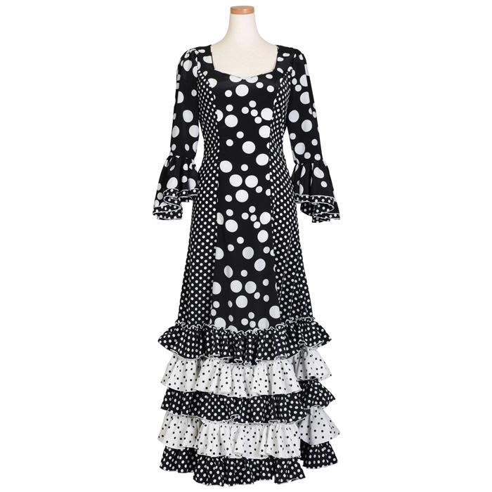 HT-1405 パネル切替5段フリルワンピース / ブラック/ホワイト水玉【日本製】【フラメンコ衣装】 ドット ドレス