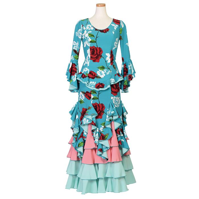 【現品特価】HI-908 ギザギザ別履きツーピース / エメラルド花柄【日本製】【フラメンコ衣装】