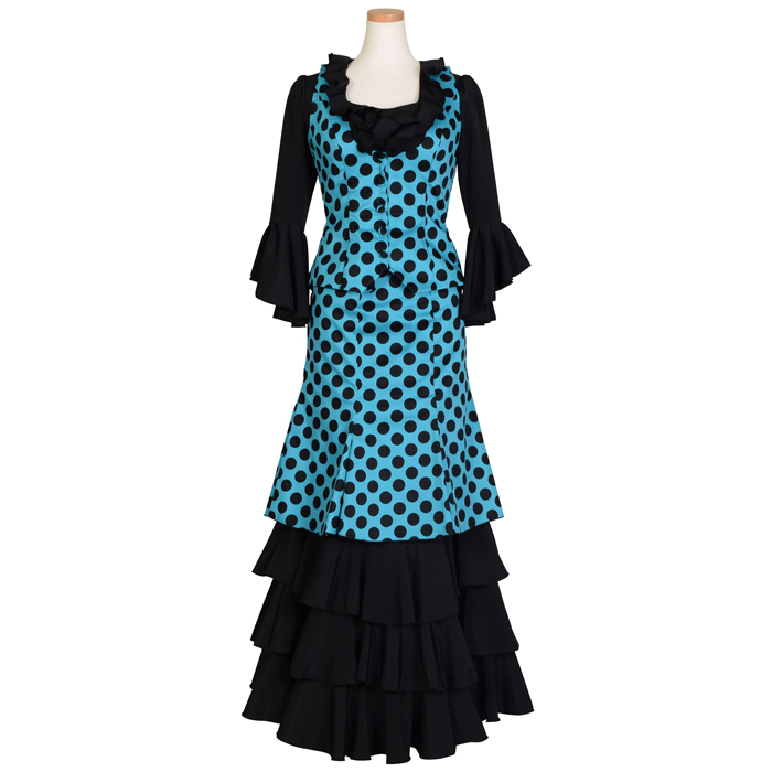 HP-1501 ベスト付被せスカート ツーピース / トルコブルー/ブラック水玉【日本製】【フラメンコ衣装】ドレス 発表会