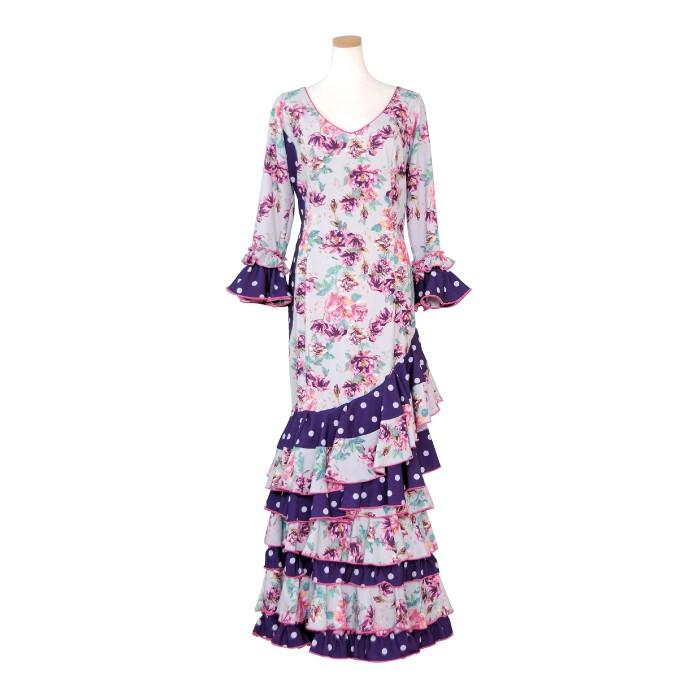 CPP-2004 スペイン製ワンピース ライトグレー・パープル花柄【スペイン製】【フラメンコ衣装】ドット ドレス