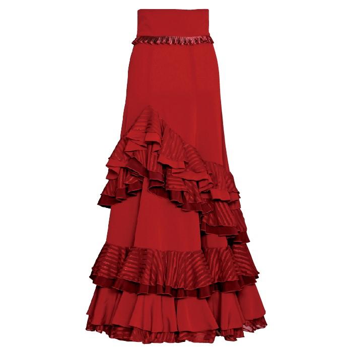 HF-1505A プリーツ付ハイウエストスカート ワインレッド【日本製】【フラメンコ衣装】ファルダ ダンス 発表会