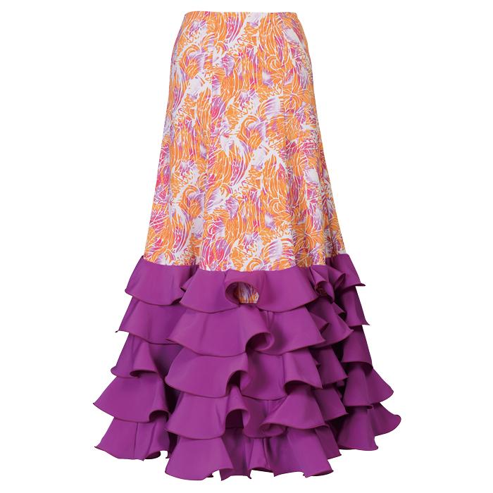 現品特価 M-96 2L-96 HF-1311 ワイヤー小フリル5段スカート 新色追加 オレンジ パープル 日本製 ピンク 発表会 全商品オープニング価格 フラメンコ衣装 ダンス ファルダ