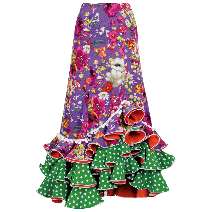 HF-1405 前上り合わせ3段フリルスカート / パープル系花柄【日本製】【フラメンコ衣装】ファルダ ダンス 発表会