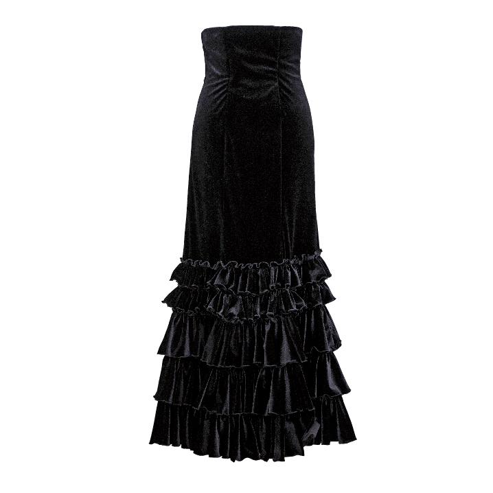 【現品特価/M-96】HF-1205 5段ギャザーフリルハイウエストスカート / ブラック【日本製】【フラメンコ衣装】ファルダ ダンス 発表会