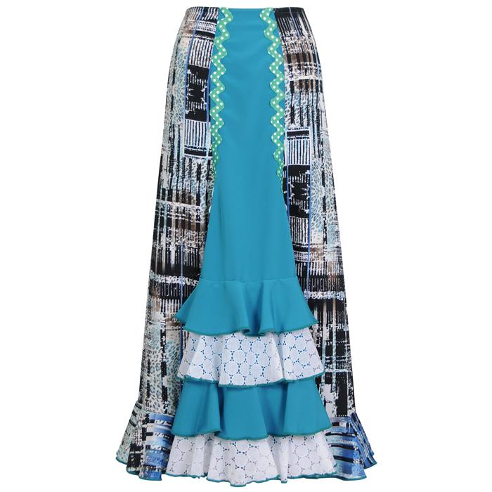 【現品特価/M-96丈】HF-1809C 前後4段ブレード付スカート / ブルー系幾何学模様【【日本製】【フラメンコ衣装】ファルダ ダンス 発表会