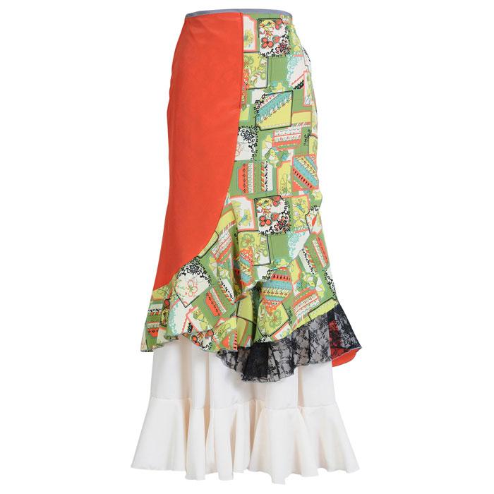 【1点モノ】WHF-1701 巻きスカート【223】【日本製】【フラメンコ衣装】『1点のみメール便可』ファルダ ラップスカート ダンス 発表会
