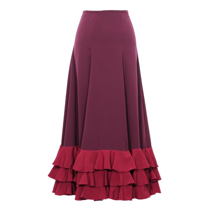 ファルダ スカートの中に 人気の定番 練習用として普段使いにも 現品特価 M-92 HE-1401 中古 日本製 ワインレッド フラメンコ衣装 ダークマゼンタ 3段フリルペチコート