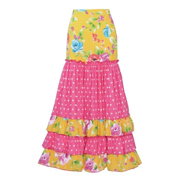 【1点モノ!】CF-1908 スペイン製スカート / イエロー・ピンク花柄【スペイン製】【フラメンコ衣装】ファルダ ダンス 発表会