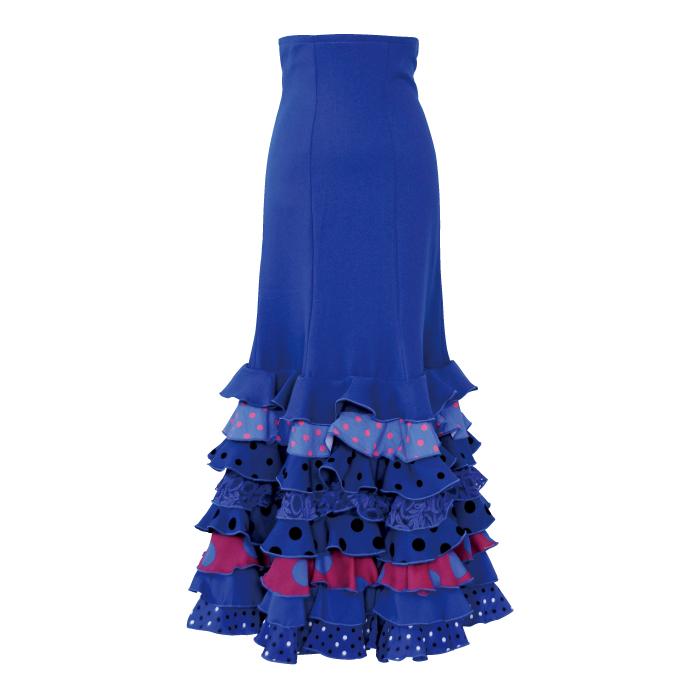 【現品限り】CF-2002 スペイン製スカート / ブルー【スペイン製】【フラメンコ衣装】ファルダ ダンス 発表会