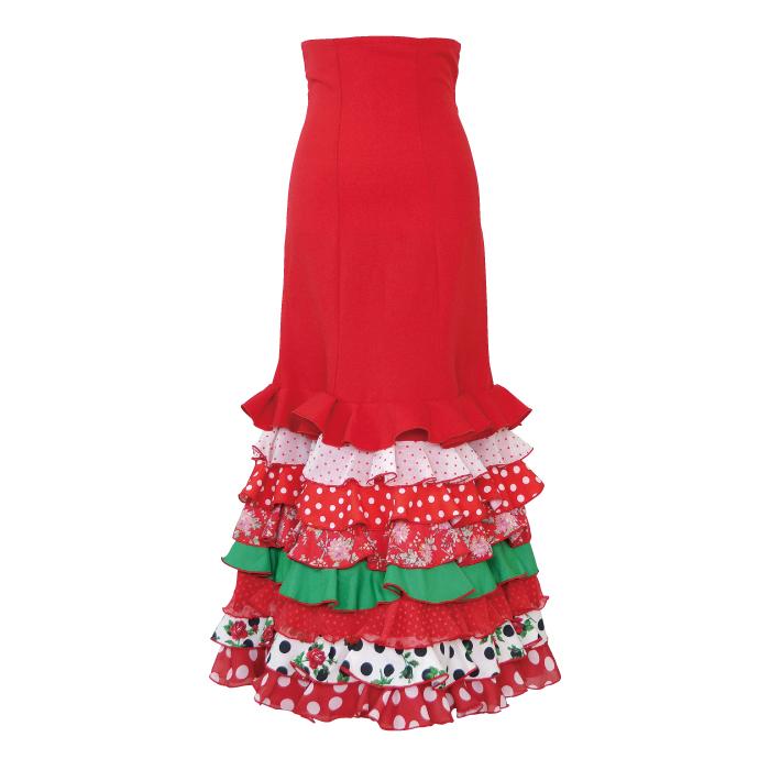 【現品限り】CF-2002 スペイン製スカート / レッド【スペイン製】【フラメンコ衣装】ファルダ ダンス 発表会