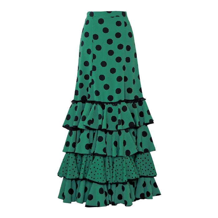 【現品特価】FF-1901 スペイン製スカート / グリーン/ブラック水玉【スペイン製】【フラメンコ衣装】ファルダ ダンス 発表会
