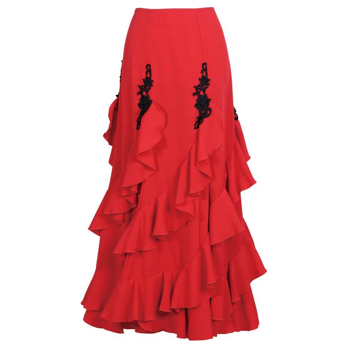 HF-1901 モチーフ付きエスカルゴ風スカート / レッド【日本製】【フラメンコ衣装】ファルダ ダンス 発表会