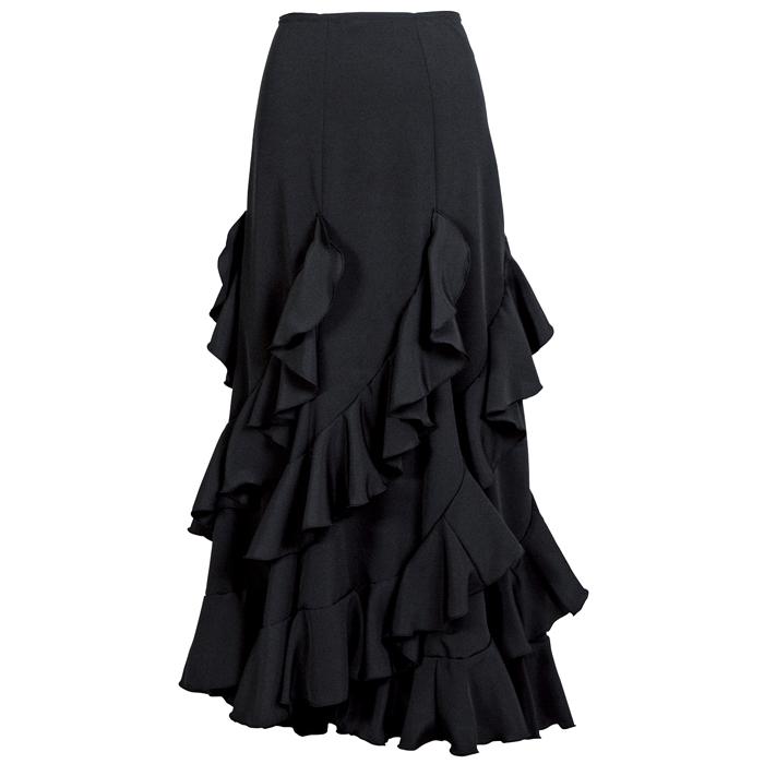 HF-1907 エスカルゴ風スカート / ブラック【日本製】【フラメンコ衣装】ファルダ ダンス 発表会