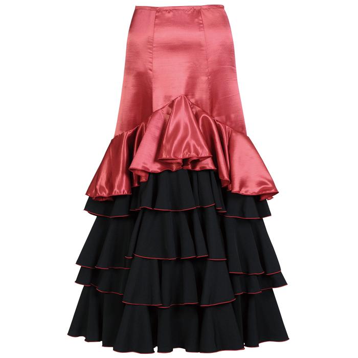 HF-1910S V字5段フリルスカート / ワイン【日本製】【フラメンコ衣装】ファルダ ダンス 発表会