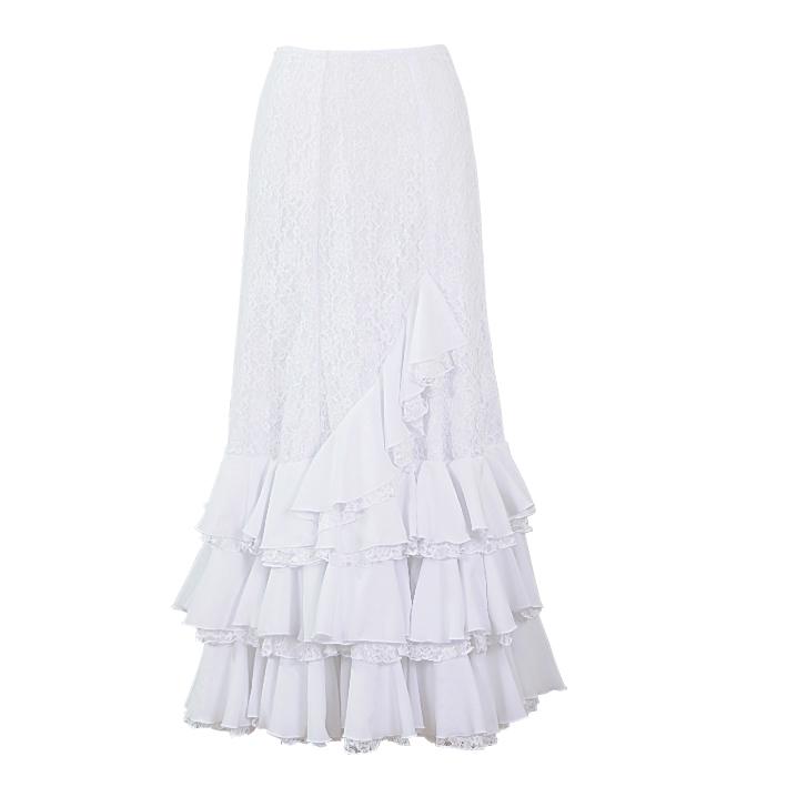 HF-1918S レース使いセミマーメイドスカート / ホワイト【日本製】【フラメンコ衣装】ファルダ ダンス 発表会