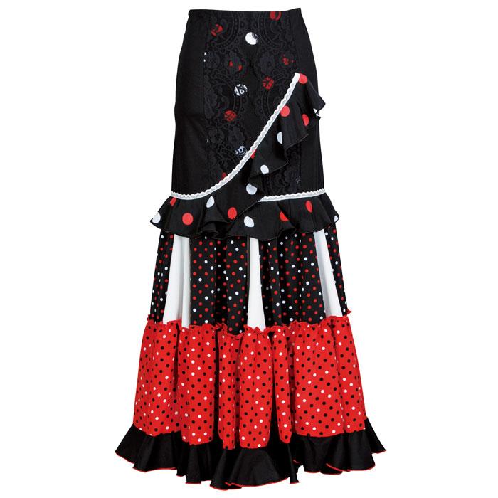 【現品限り】CF-1901 スペイン製スカート ブラック/レッド【スペイン製】【フラメンコ衣装】ファルダ ダンス 発表会