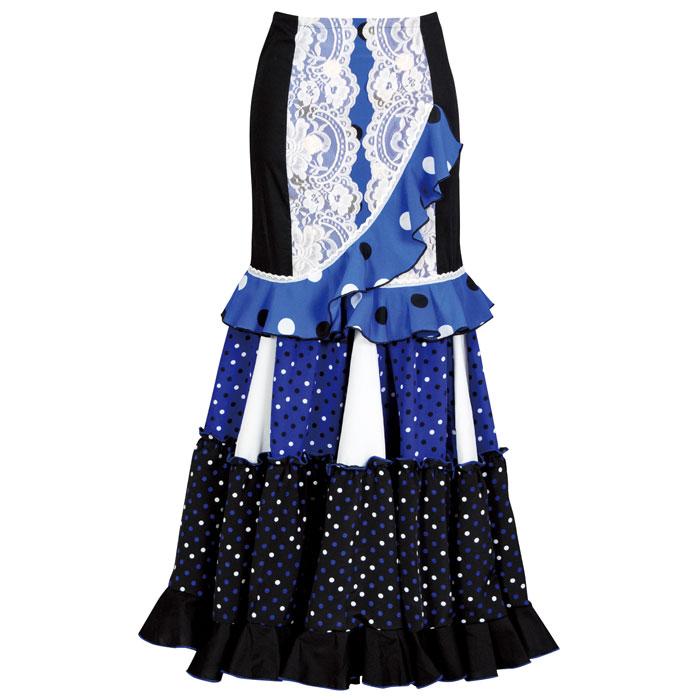 【現品限り】CF-1901 スペイン製スカート ブラック/ブルー【スペイン製】【フラメンコ衣装】ファルダ ダンス 発表会