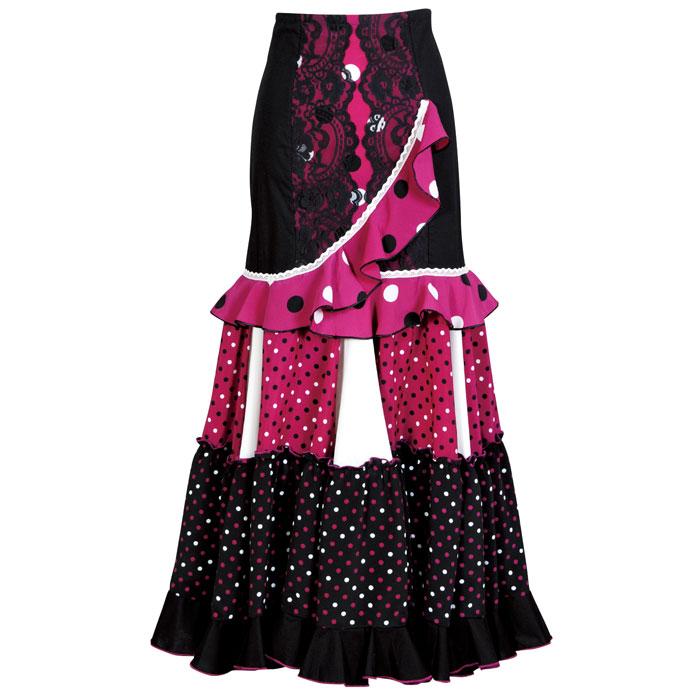 【現品限り】CF-1901 スペイン製スカート ブラック/マゼンタ【スペイン製】【フラメンコ衣装】ファルダ ダンス 発表会