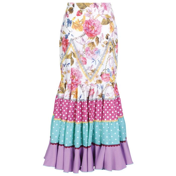 【現品限り】CF-1902 スペイン製スカート ホワイト系花柄【スペイン製】【フラメンコ衣装】ファルダ ダンス 発表会