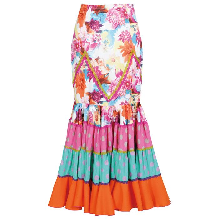 【現品限り】CF-1902 スペイン製スカート オレンジ系花柄【スペイン製】【フラメンコ衣装】ファルダ ダンス 発表会