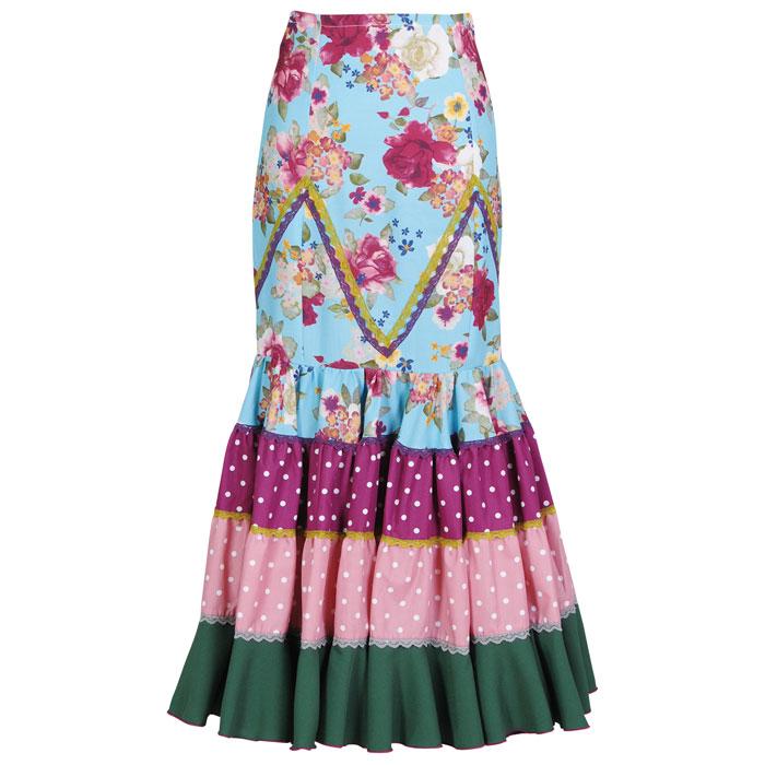【現品限り】CF-1902 スペイン製スカート ブルー系花柄【スペイン製】【フラメンコ衣装】ファルダ ダンス 発表会