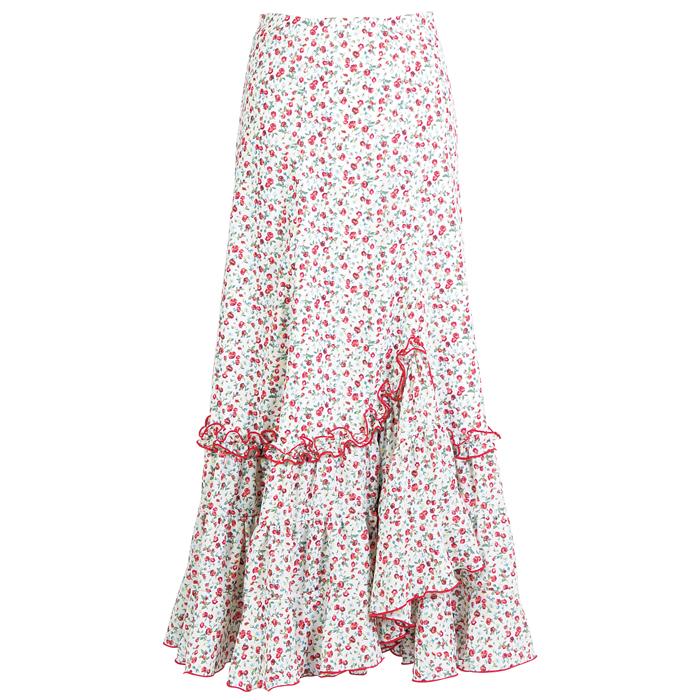 【現品限り】CF-1906 スペイン製スカート レッド系小花柄【スペイン製】【フラメンコ衣装】ファルダ ダンス 発表会